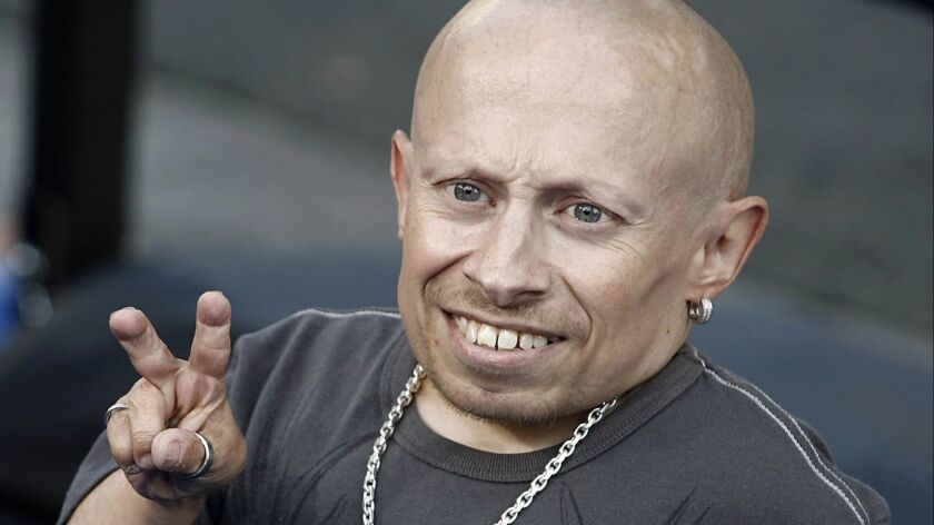 """Actor Verne Troyer was hospitalized after a medical emergency was reported April 2. Above, the actor poses on the press line at the premiere of the feature film """"The Love Guru"""" in Los Angeles in 2008."""
