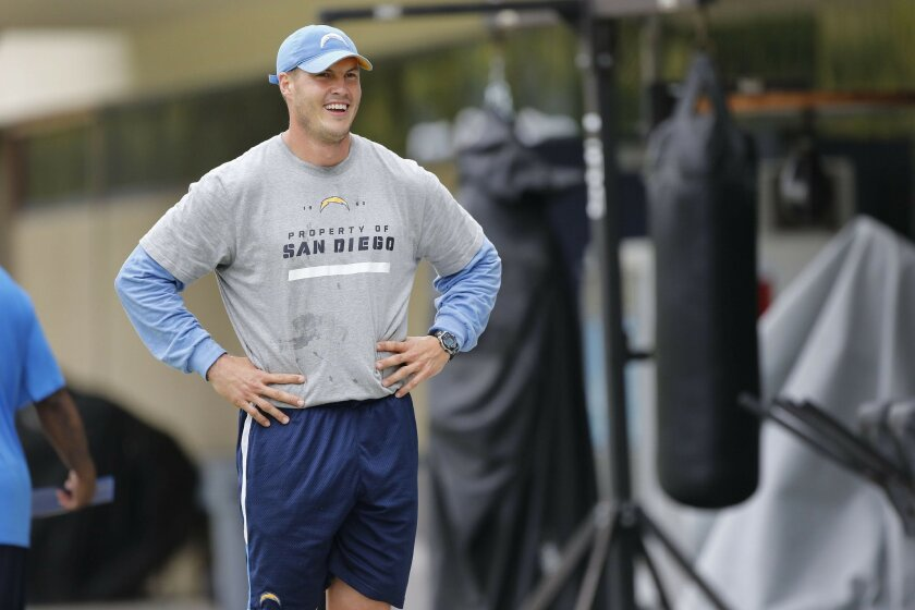 Quarterback Philip Rivers on the first day of the Chargers' 2012 voluntary offseason workouts at Charger Park.