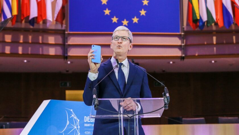 Apple CEO Tim Cook gives a speech Oct. 24 at the 40th International Conference of Data Protection and Privacy Commissioners at the European Parliament in Brussels, Belgium.