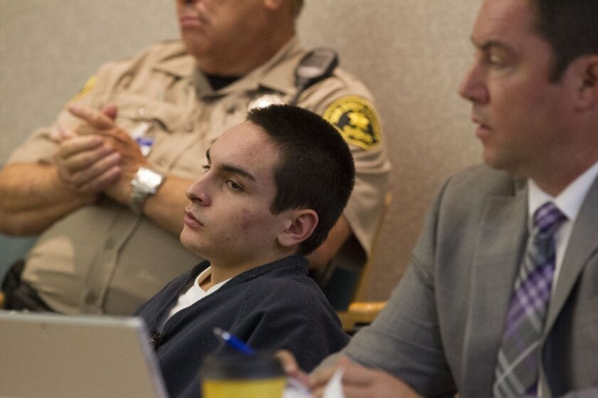 Defendants Ryan Valdez (shown here), Kevin Garcia and Tyler Dean are accused of stabbing a Fallbrook man who was walking down the street. The victim, Hugh Pettigrew III, later died. The trio was in a Vista courtroom Wednesday for the start of their preliminary hearing.