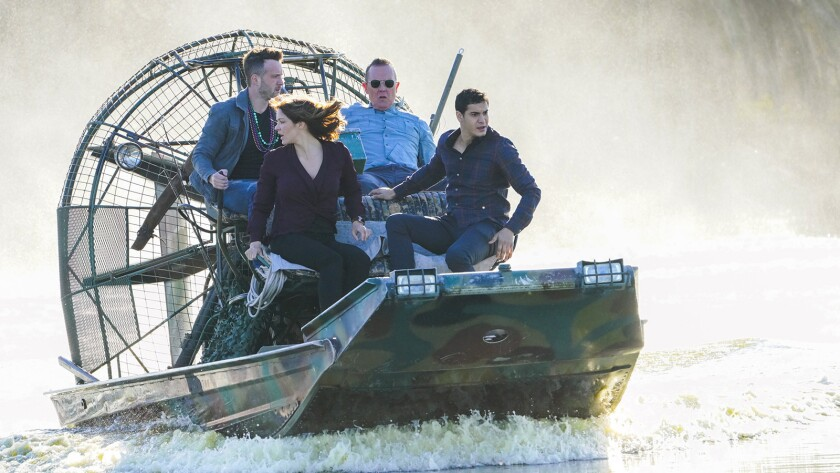 """The team is on a mission down in the bayou on a new """"Scorpion"""" on CBS. With Eddie Kaye Thomas, left, Katharine McPhee, Robert Patrick and Elyes Gabel."""