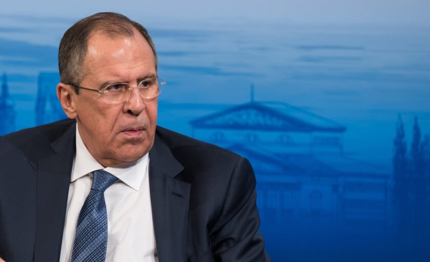 Russian Foreign Minister Sergey Lavrov speaks at the 52nd Security Conference  inMunich,Germany,  Saturday Feb. 13, 2016.  (Sven Hoppe/dpa via AP)