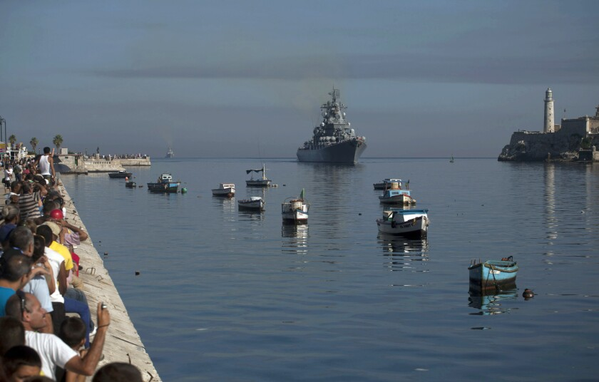 The Russian guided-missile cruiser Moskva, now steaming from the North Atlantic toward the eastern Mediterranean, is pictured here in Havana Harbor, where it made a port of call earlier this month.