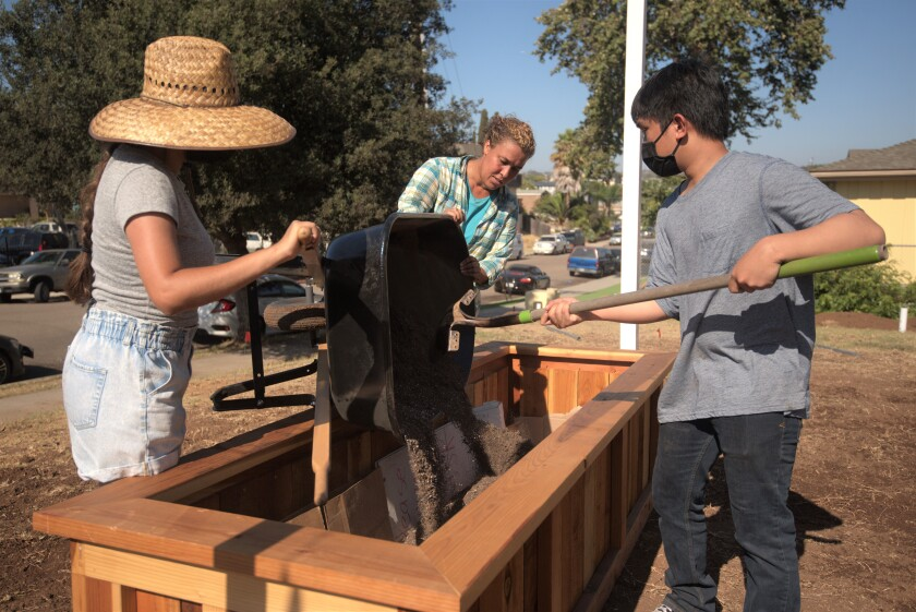 Sweetwater High students Corina Flores, left, and Jonathan Ty, fill a flower pot with Jeni Barajas of Olivewood Gardens.