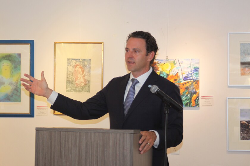 San Diego County Supervisor Nathan Fletcher speaks at the La Jolla Community Center, Aug. 13.