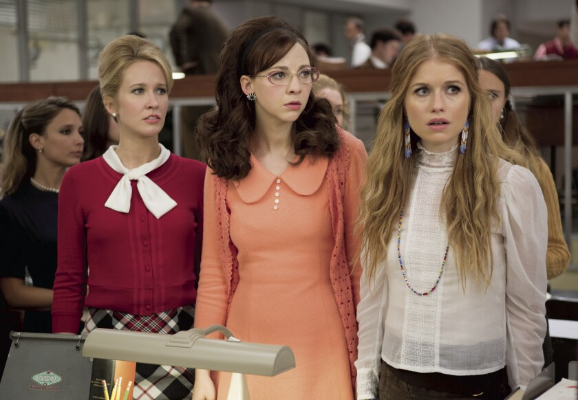 "Anna Camp, left, Erin Darke and Genevieve Angelson in a scene from Amazon's ""Good Girls Revolt."""