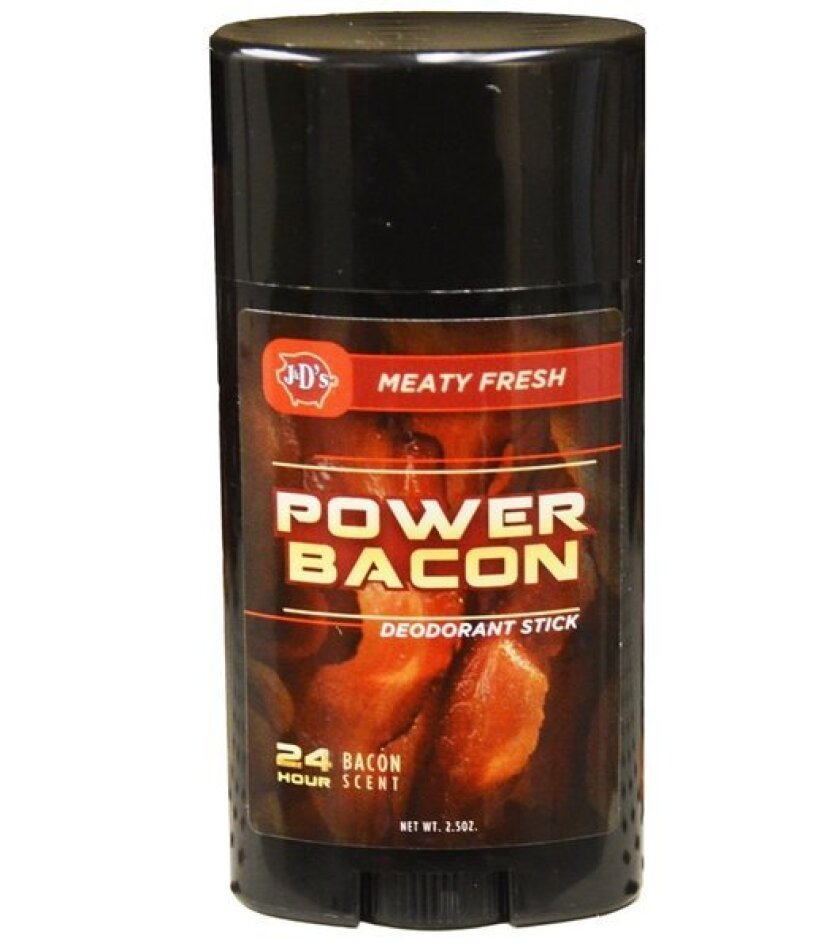 """Seattle-based J&D's Foods has announced the launch of a bacon-scented deodorant called Bacon Power ($9.99, tagline: """"For When You Sweat Like a Pig"""")."""