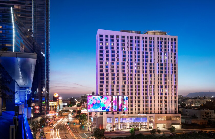 The Marriott Courtyard/Residence Inn hotel in Los Angeles