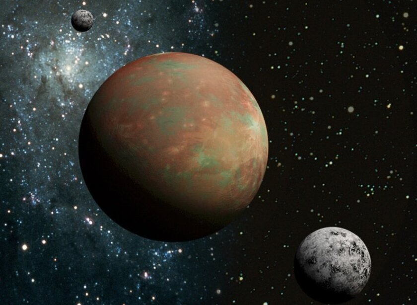 Artist's  rendering of Pluto and one of its moons.