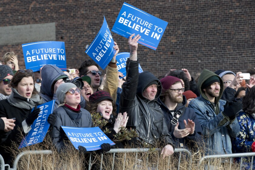 Bernie Sanders supporters rally for their candidate in Brooklyn on April 8.