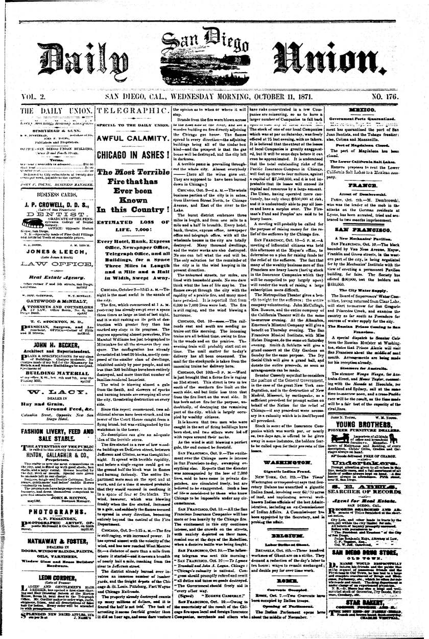 October 11, 1871 front page