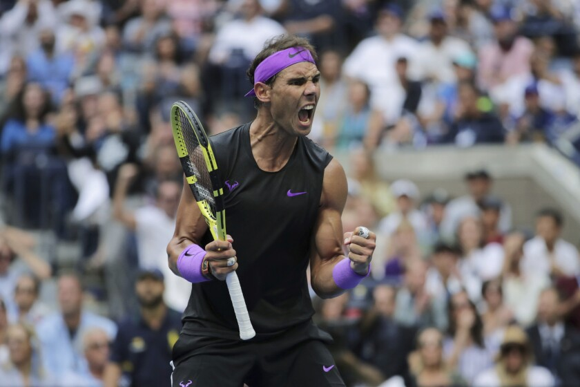 Rafael Nadal reacts after scoring a point against Daniil Medvedev during the men's singles final of the 2019 U.S. Open.