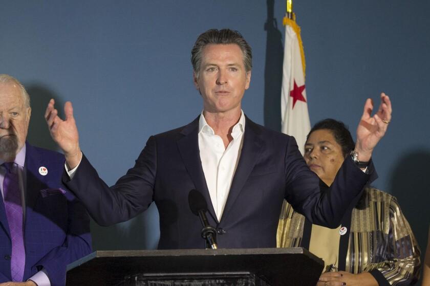 California Governor Gavin Newson spoke at a press conference in 2019 in San Diego.