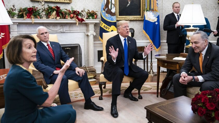 In December, President Trump had an Oval Office squabble with House Minority Leader Nancy Pelosi and Senate Minority Leader Charles E. Schumer.