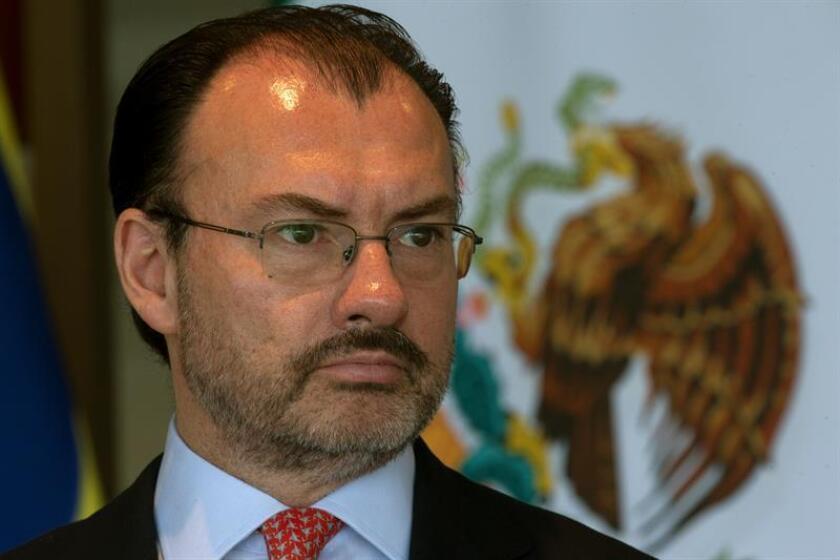 El ministro de Relaciones Exteriores de México, Luis Videgaray, reacciona durante una rueda de prensa. EFE/Archivo