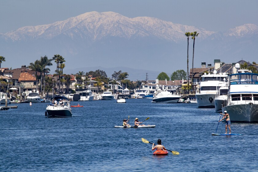 Traffic in Huntington Harbour in April. The harbor was closed Monday after a sewage spill.
