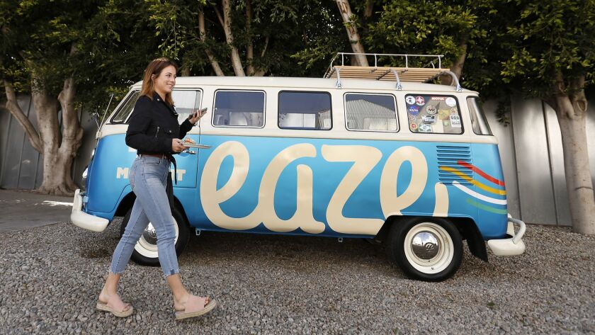 "VENICE, CA - APRIL 18, 2018: Acacia Friedman takes a break from ""Dawn of Cannabis"" event at EAZE L"