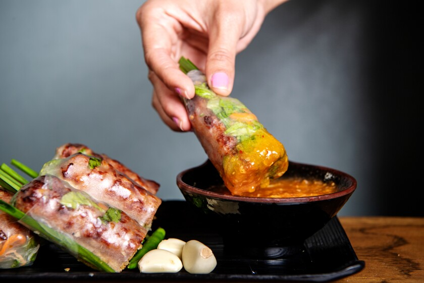 Grilled pork spring rolls from Brodard