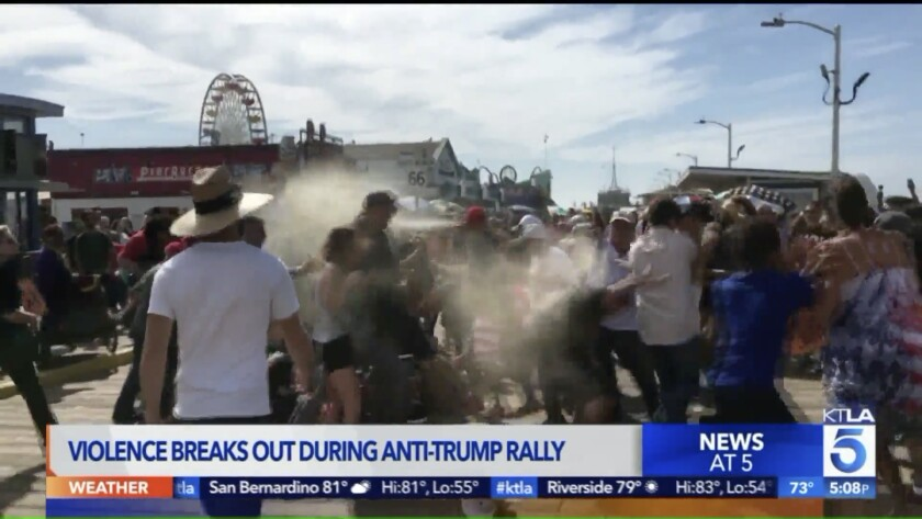 Man charged in bear-repellent attack on Trump protesters at Santa Monica Pier
