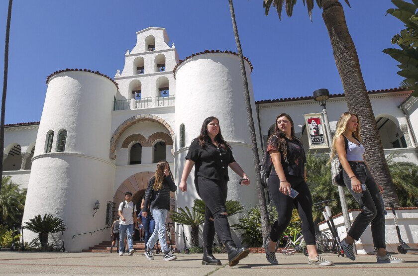 Students walk from Hepner Hall at San Diego State University.
