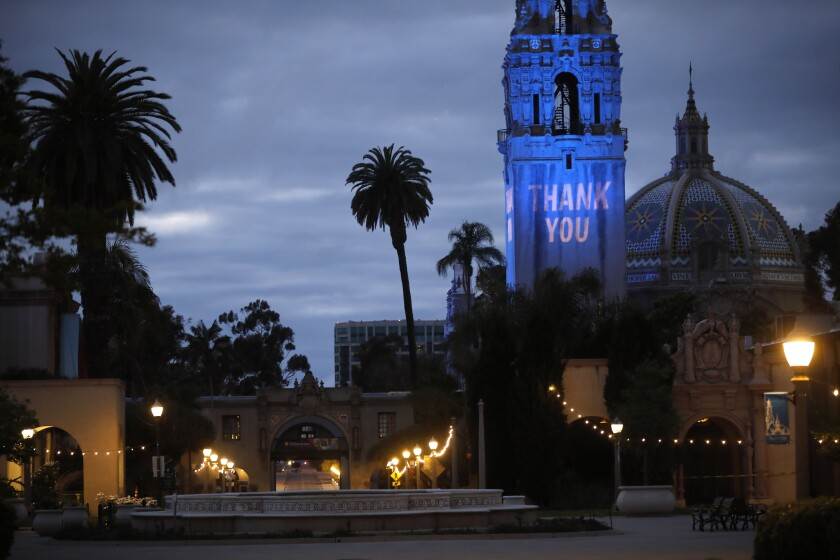 "The California Tower in Balboa Park says ""THANK YOU"" to San Diegans fighting the COVID-19 pandemic in April."