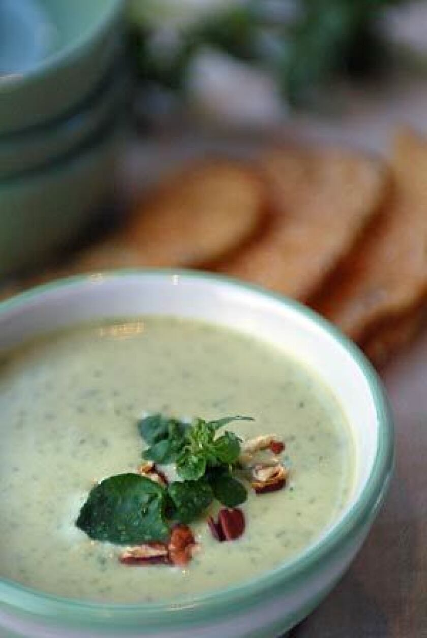 MORE THAN A GARNISH: Add watercress to a sophisticated soup with Stilton and pecans. The leaves wilt just enough to mellow their bite without losing their gorgeous green color.