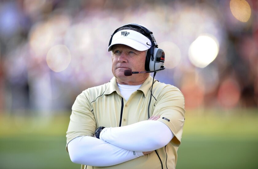 FILE - In this Oct. 30, 2010, file photo, Wake Forest head coach Jim Grobe watches from the sidelines during an NCAA college football game against Maryland in College Park, Md. Those who have worked and played for the new Baylor coach, say he believes in tough love, a hands-on approach and truly no