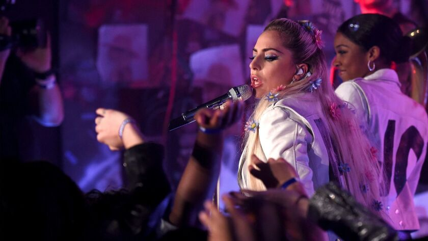 Lady Gaga performs Thursday night at the Satellite in Los Angeles.