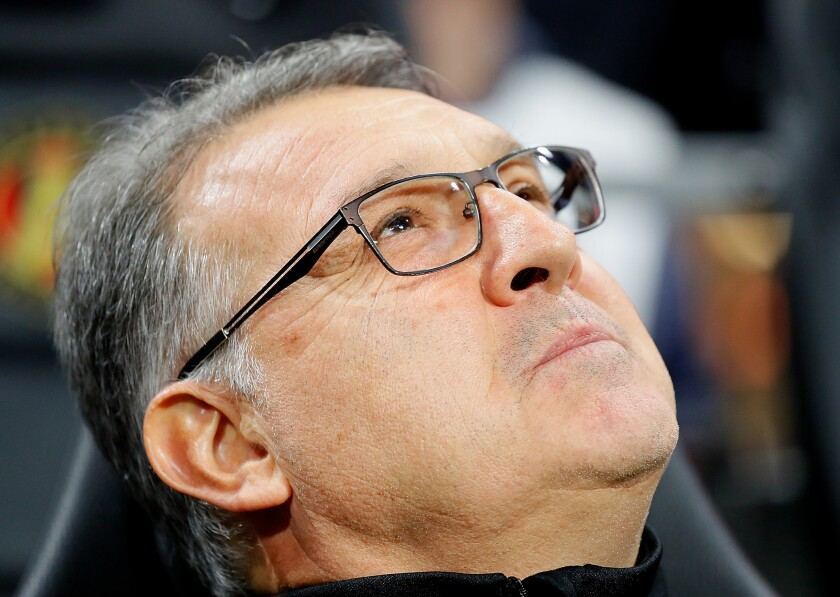 Gerardo Martino of the Atlanta United looks on prior to the MLS Eastern Conference Finals between Atlanta United and the New York Red Bulls at Mercedes-Benz Stadium on November 25, 2018 in Atlanta, Georgia. (Photo by Kevin C. Cox/Getty Images) ** OUTS - ELSENT, FPG, CM - OUTS * NM, PH, VA if sourced by CT, LA or MoD **