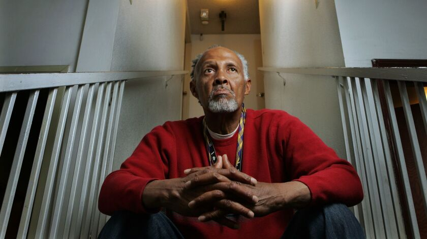 Oscar Foster, former San Diego High School basketball player of the year in 1960s, pictured in 2007 at a board-and-care facility in Golden Hill.