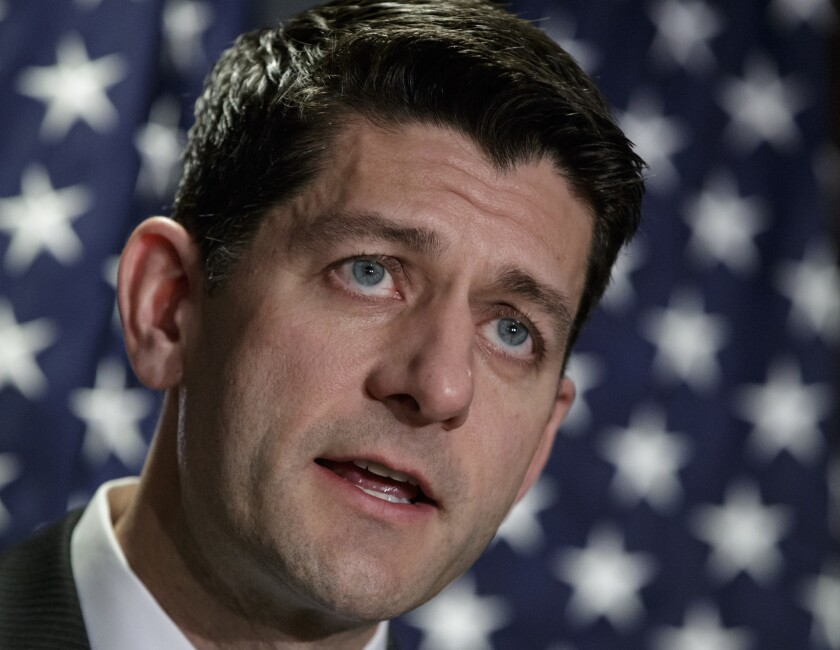 House Speaker Paul Ryan of Wis. speaks during a news conference at Republican National Committee Headquarters on Capitol Hill in Washington on March 8, 2017.