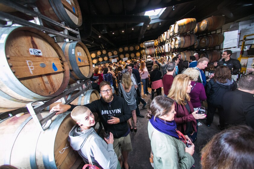 A past barrel tasting party at Carruth Cellars in Solana Beach.