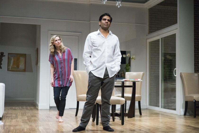 "Allison Spratt Pearce and Ronobir Lahiri in ""Disgraced."""