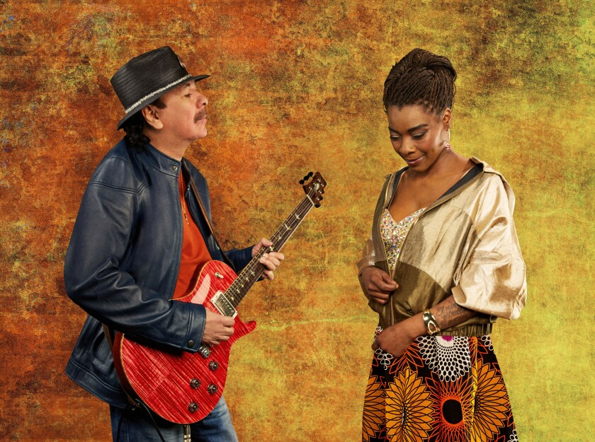 "Carlos Santana's exuberant new album, ""Africa Speaks,"" prominently features Spanish-African vocal star Buika."