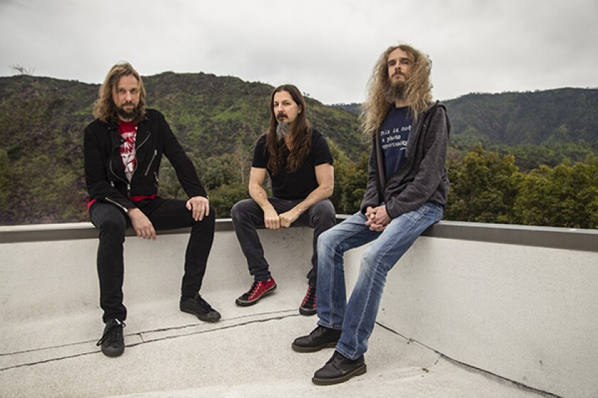 The members of The Aristocrats are, from left, German drummer Marco Minnemann, American bassist Bryan Beller and English guitarist Guthrie Govan.