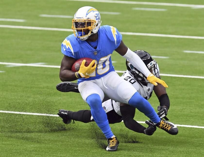 Chargers defensive back Desmond King returns a punt against the Jacksonville Jaguars.