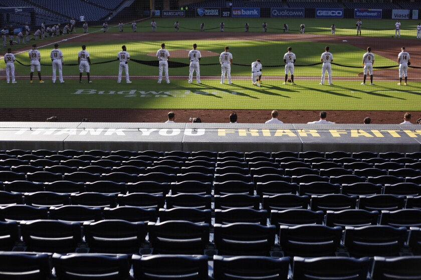 The Padres opened the 2020 season delayed by COVID-19 concerns Friday against the Diamondbacks in fan-less Petco Park.