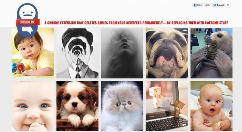 Unbaby.me is a Chrome plug-in that replaces baby photos on your Facebook news feed with pictures of cats, puppies or other things of your choice. Above, a screen shot of its website.
