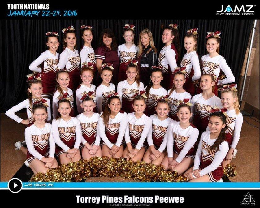 National champions: Torrey Pines Pop Warner Pee Wee Cheerleading team. Courtesy photos