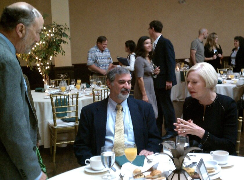 Richard Kurin, center, chats with Jeffrey Kirsch, director of the Reuben H. Fleet Science Center, and county Supervisor Pam Slater-Price at Balboa Park Central annual meeting.