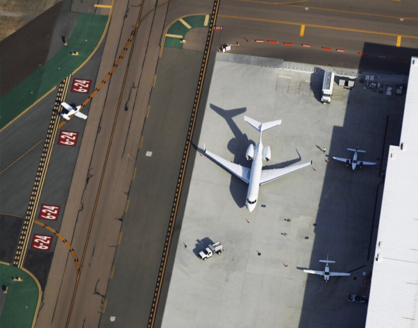 Planes on the ground at McClellan-Palomar Airport.