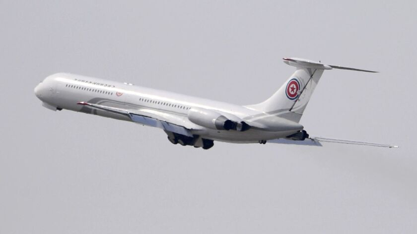 A passenger plane which is reportedly used for North Korean high-ranking officials, takes off from a
