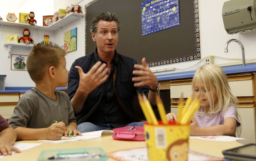 California Gov. Gavin Newson visits students in Paradise, Calif.