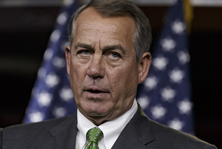 House Speaker John Boehner of Ohio speaks during a news conference on Capitol Hill in Washington, D.C.