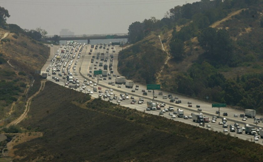 A lawsuit was filed this week against plans to expand Interstate 5, shown above in Del Mar. U-T San Diego file photo.