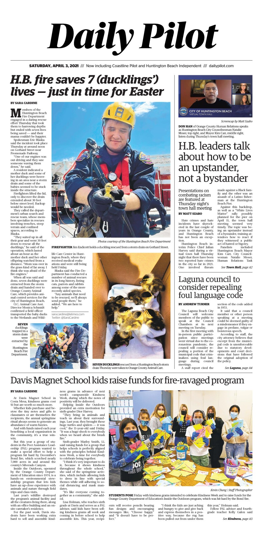 Front page of Daily Pilot e-newspaper for Saturday, April 4, 2021.