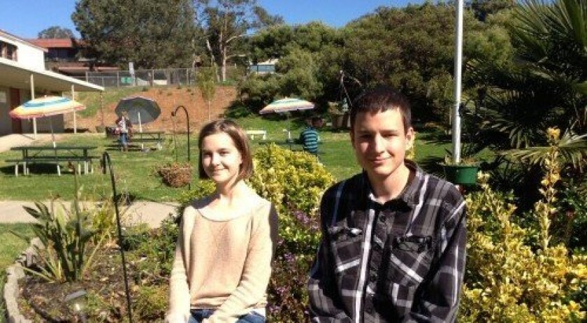 Winston School students Lauren Jacobson and Zach O'Brien on campus