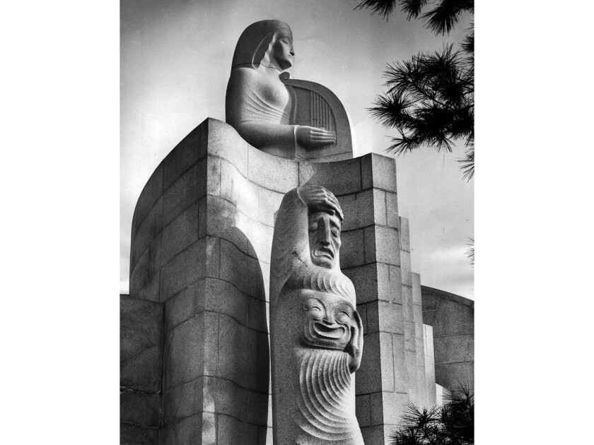 Nov. 28, 1955: Muse of Music, Dance, Drama statuary at entrance to the Hollywood Bowl.