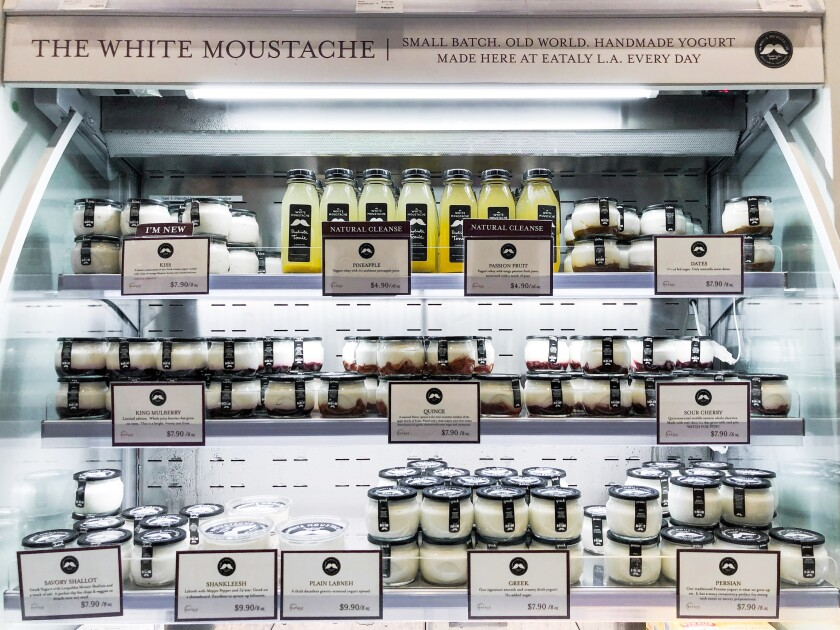 White Moustache's display shelf at Eataly L.A.