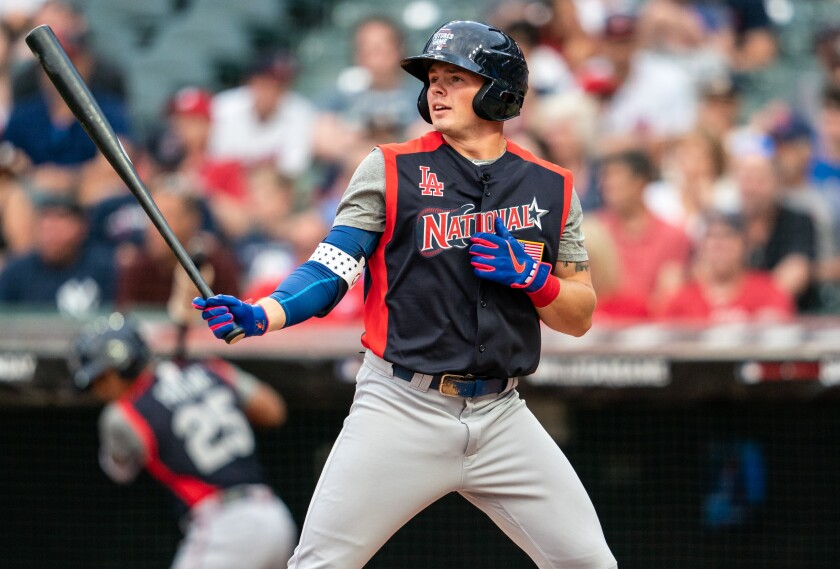 Gavin Lux prepares to bat during the MLB All-Star Futures Game in Cleveland on July 7.